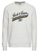 JACK & JONES, Heren Sweatshirt 'JJELOGO SWEAT CREW NECK TWO', wit