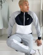 Nike fleece tracksuit in black and grey colourblock
